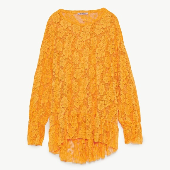 73100fb44e4b46 Zara Tops   Nwt Ss18 Yellow Lace Oversized Blouse   Poshmark
